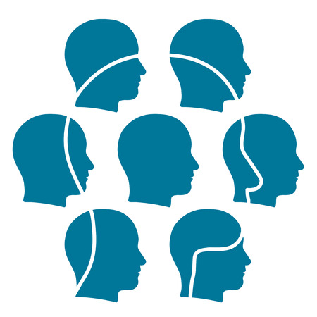 sum: Outline of a head superimposed with a group of smaller heads forming a team of connected friends or contacts for business or social networking The whole is more than the sum of its parts Stock Photo