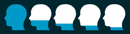 decrease: Conceptual illustration of a row of silhouetted male heads showing a decreasing level of memory fprgetting curve