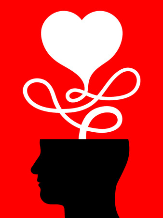 desire: Conceptual illustration of a male head with a heart attached to a looped cord issuing forth from the top on a red background conceptual of love, passion, emotions and feelings or Valentines Day