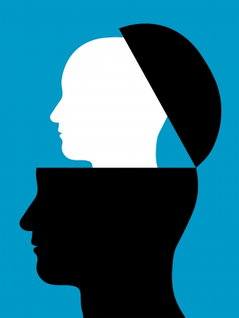 replication: Conceptual illustration of two heads silhouetted in profile with a smaller white head rising out of a black head which is open like a lid - origin, continuity, intelligence, partners or replication Stock Photo