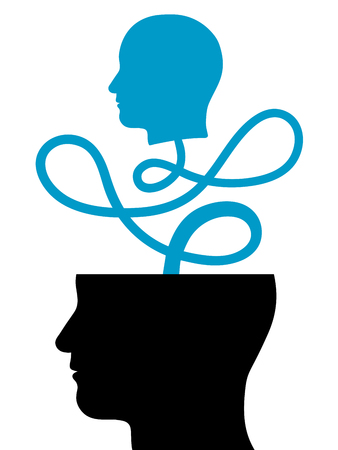 originating: Conceptual vector illustration of the silhouette of a smaller white head emanating from a larger black head and joined by a looping cord forming a connection - head out of a head