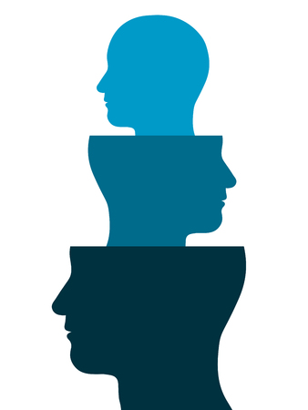 Conceptual vector illustration of the silhouettes of three heads in diminishing sizes facing in alienating directions stacked above one another - Head out of a head