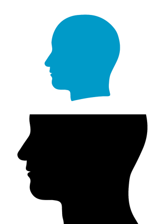 conjoined: Conceptual illustration of a head released out of a head with the silhouettes of two male heads one above the other with the larger bottom head missing the cranium as though replicating itself