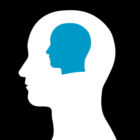 conjoined: Conceptual illustration of a silhouetted cartoon male head within a head depicting thought manipulation, a mentor, teamwork, wisdom or intelligence Stock Photo