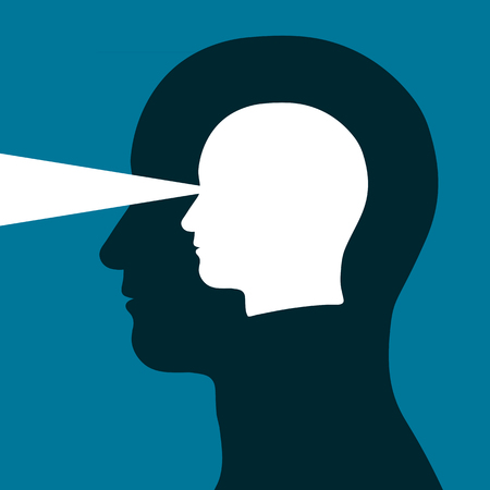 perceptions: Head within a head emitting a beam of light depicting eyesight, vision, mental acuity and intelligence in a conceptual vector illustration