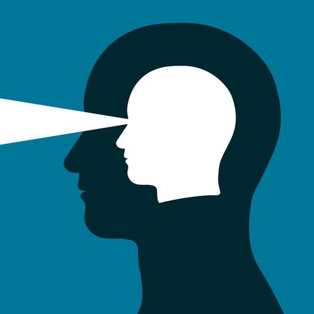 percepción: Jefe dentro de una cabeza que emite un haz de luz que representa la vista, visión, agudeza mental y la inteligencia en una ilustración conceptual