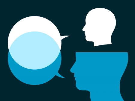 verbal communication: Illustration of two silhouetted male heads of different sizes with overlapping speech bubbles conceptual of dialogue, discussion, conversation and communication Stock Photo