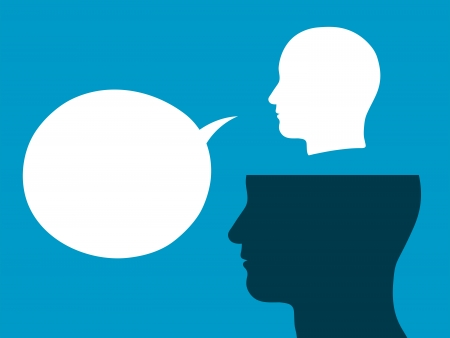 Head silhouettes of male above each other with a large blank white speech bubble depicting discussion, cooperation and communication inner voice Stock Photo