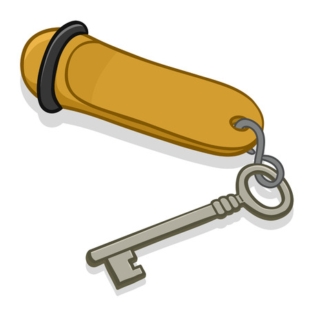 concierge: Cartoon vector illustration of a hotel room key on a heavy metal tag with blank copyspace for your text on a white background with a drop shadow Stock Photo