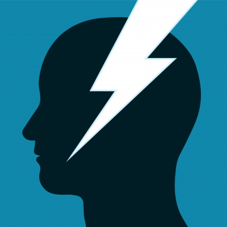 headache: Lightning bolt or electrical power icon t through the silhouette in profile of a mans head depicting inspiration, innovation and intelligence