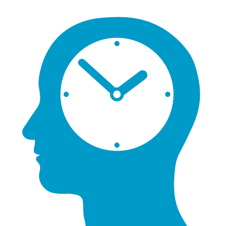 organise: Conceptual illustration of a mans head silhouette with a clock inside depciting, time, time management, punctuality and deadlines Stock Photo