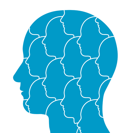 personalities: Conceptual illustration of the silhouette of a persons head in profile filled with a pattern of repeating small heads all facing in the same direction isolated on white Stock Photo
