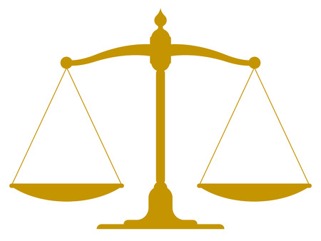 weighted: Illustration of a set of golden vintage scales in balance and equilibrium conceptual of justice and equality