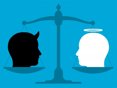 Conceptual illustration showing the silhouette of a vintage pan scale in equilibrium with the head of an angel and devil in blank and white showing the relationship between good and evil