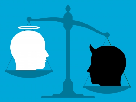 unbalanced: Conceptual illustration of the silhouette of an unbalanced vintage scale with the head of an angel and the devil on its pans showing a comparison of good over evil Stock Photo