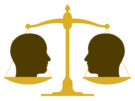 Conceptual illustration of the silhouette of a balanced vintage scale with two heads in profile on the pans depicting weight, value, equality and balance or drawing a comparison illustration