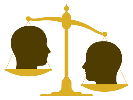 unbalanced: Conceptual illustration of the silhouette of an unbalanced vintage scale with two heads in profile on the pans depicting weight, value, inequality and imbalance or drawing a comparison Stock Photo