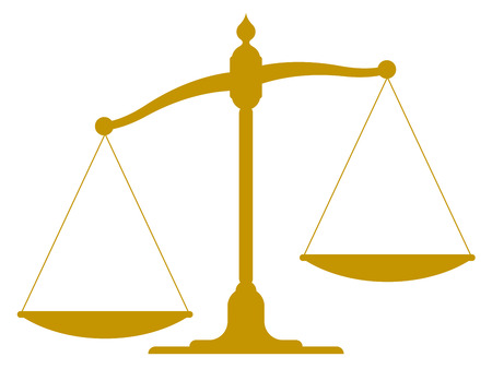 scale illustration of the silhouette of an unbalanced vintage scale with empty pans showing one side weighted down more than the other depicting imbalance, inequality and justice