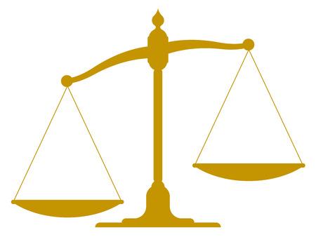 Skala-Illustration der Silhouette einer unausgewogenen Vintage-Skala mit leeren Pfannen, die eine Seite mehr als die andere Darstellung Ungleichgewicht, Ungleichheit und Gerechtigkeit gewichtet nach unten Standard-Bild - 25337947