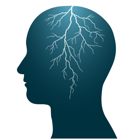 Illustration of the profile of a human head with a lightning flash inside, isolated headache illustration