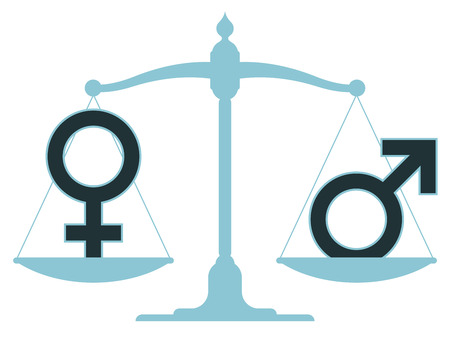Scale in equilibrium with male and female icons showing an equality and perfect balance between the sexes