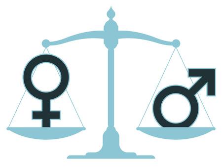 Weegschaal in evenwicht met mannelijke en vrouwelijke iconen die een gelijkheid en perfecte balans tussen de seksen Stockfoto - 25433701