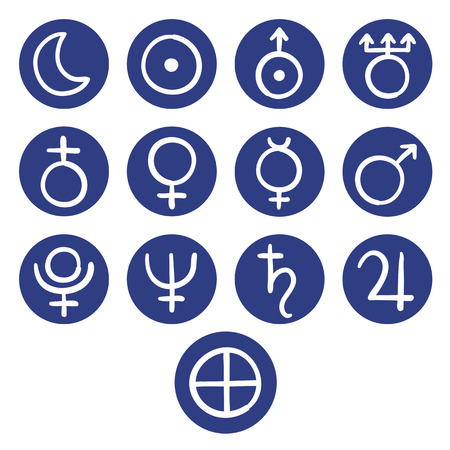 jupiter: Set of icons for the planets, sun and moon with Venus, Mars, Jupiter, Uranus, Earth, Mercury, Saturn, Neptune and Pluto represented by ancient astrological symbols, illustration