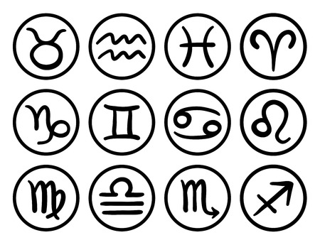 Abstract white illustration of the twelve signs of the modern zodiac, round shapes, isolated on white background Vector