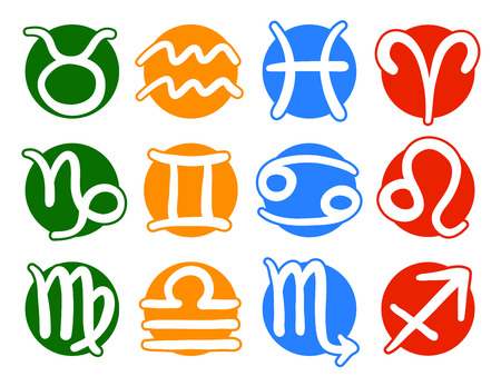 Signs of the modern zodiac illustration, on green, yellow, blue and red round shapes, isolated on white background Vector