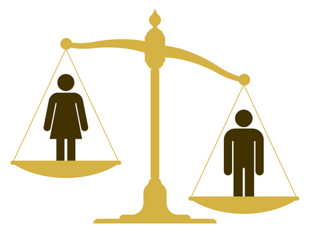 Unbalanced scale with a man and woman Ilustrace