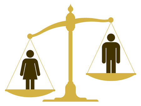 nude man: Unbalanced old fashioned pan scale with a man and woman showing the inequality of the sexes with the female having a heavier weighting illustration