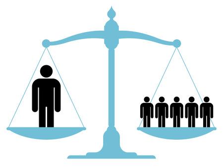 balanced: Balanced scale with a single man and a group