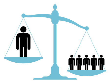 inequality: Illustration of an unbalanced vintage scale with a single man and a group of people on each of the pans showing the value of teamwork, cooperation and unification