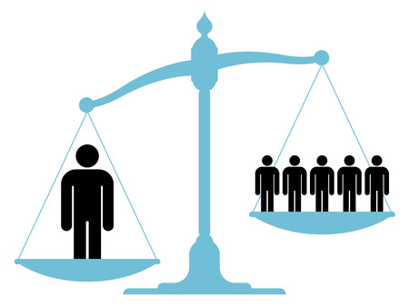 injustice: Illustration of an unbalanced vintage scale with a single man and a group of people on each of the pans showing the value of teamwork, cooperation and unification