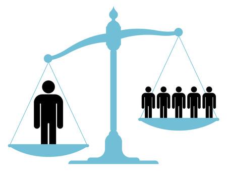 trabajo social: Ilustración de una escala desequilibrada de la vendimia con un solo hombre y un grupo de personas en cada uno de los platillos que muestra el valor del trabajo en equipo, la cooperación y unificación