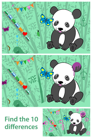 teaser: Cartoon kids Puzzle - spot the 10 differences in the two Pandas Illustration