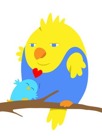 cuddling: Two cartoon birds in love