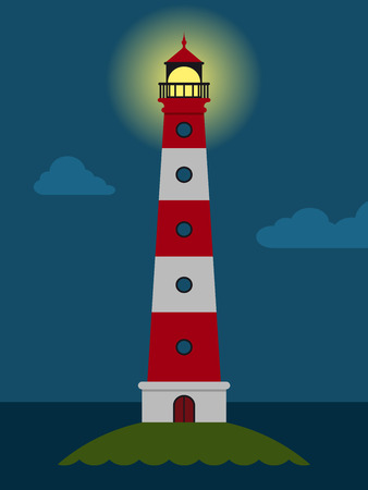Striped red and white lighthouse at night Illustration