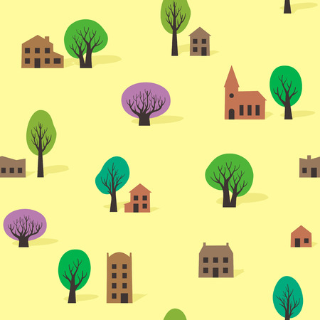 Seamless pattern of trees and buildings in summer Illustration