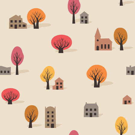 Seamless pattern of trees and buildings in fall
