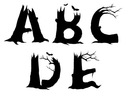 gnarled: ABCDE Halloween letter designs