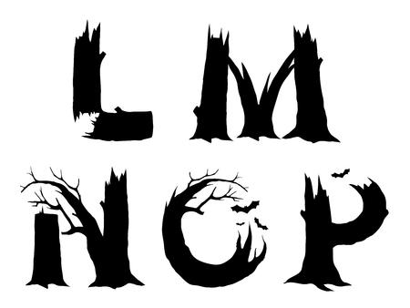 gnarled: Halloween horror alphabet letters LMNOP Illustration