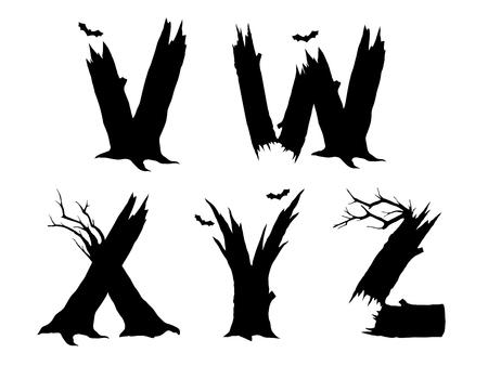 gnarled: Halloween horror alphabet letters VWXYZ Illustration