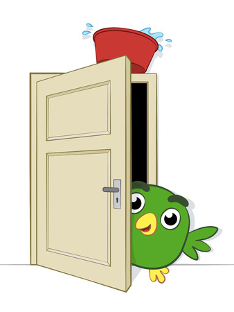Prank being played on a cute little cartoon bird peering cautiously round the edge of an open doorway on which is balance a basin of water about to dislodge and fall on it, vector illustration Illustration