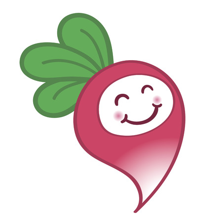 Happy cartoon radish with a cute smile Vector
