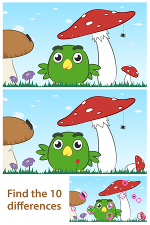 Kids spot the difference educational puzzle with a cute little green cartoon bird playing amongst a field of wild mushrooms in two variations with 10 differences and a third solution