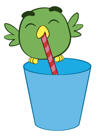 sipping: Adorable cartoon bird drinking through a straw