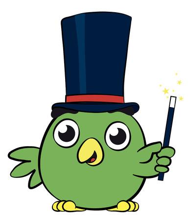 wonderment: Adorable little bird magician cartoon character