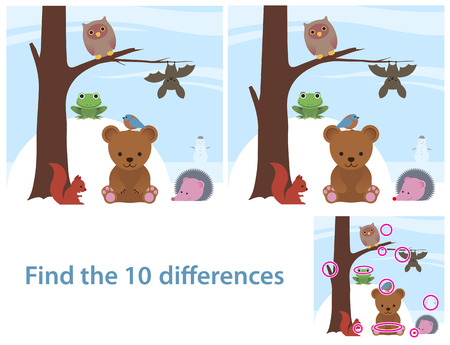 Woodland animals kids educational puzzle to spot the 10 differences between two illustrations of a cute little cartoon bear, bat, owl, squirrel, bird and frog on a tree, with a supplied solution