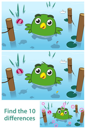 seeking an answer: Fun kids educational puzzle of a bird in a lake with ten differences for your child to spot by comparing two pictures together with the answers in a third vector illustration